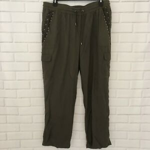 NWT-Loralette-Casual-Army-Green-Relaxed-Embroidered-Plus-Size-2X-Military-Pants