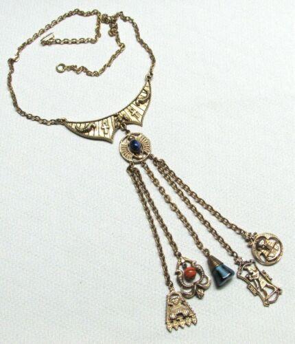 Vintage Rare Egyptian Revival Dangling Plaque Neck