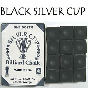 1-x-BOX-OF-BLACK-SILVER-CUP-Pool-Cue-Chalk-quick-sale