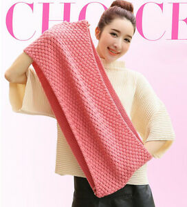 Women-Winter-Warm-Long-Scarf-Infinity-2-Circles-Knit-Snood-Cowl-Neck-Shawl-Pink