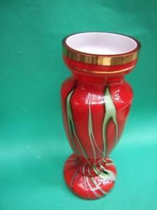 MURANO-MILLEFIORI-RED-TALL-ART-GLASS-VASE-W-GREEN-STRAPS-RETRO-1950-039-s