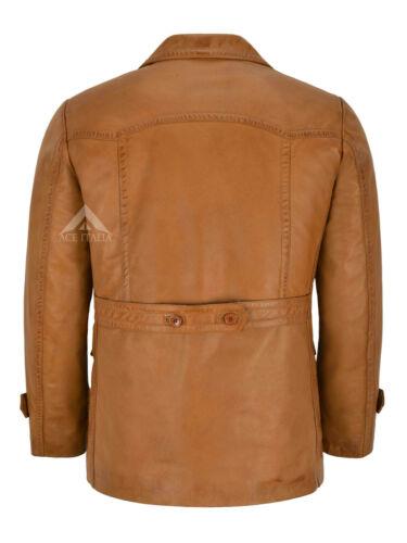 Mens Leather Pea Coat Tan Marshal Combat Long Jacket World War 2 COAT DR-WHO