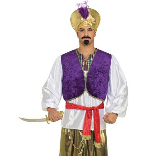 Adult Desert Prince Shirt /& Vest Costume Genie Aladdin Fancy Dress Outfit