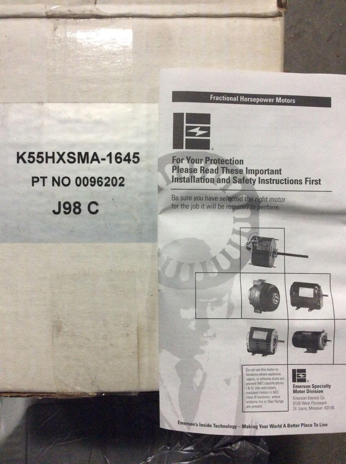 Emerson Motor K55hxsma-1645 48y HVAC K1645 1/6hp 1550rpm 208-230v