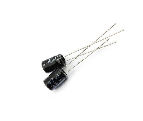 50pcs 47uF 25V 105°C Radial Electrolytic Capacitor 5x7mm NEW