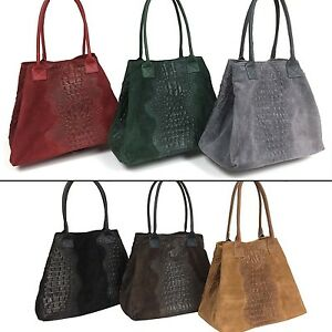 3aa28587a9d Details about Ladies Italian Small Suede Crocodile Leather Handbag Made In  Italy