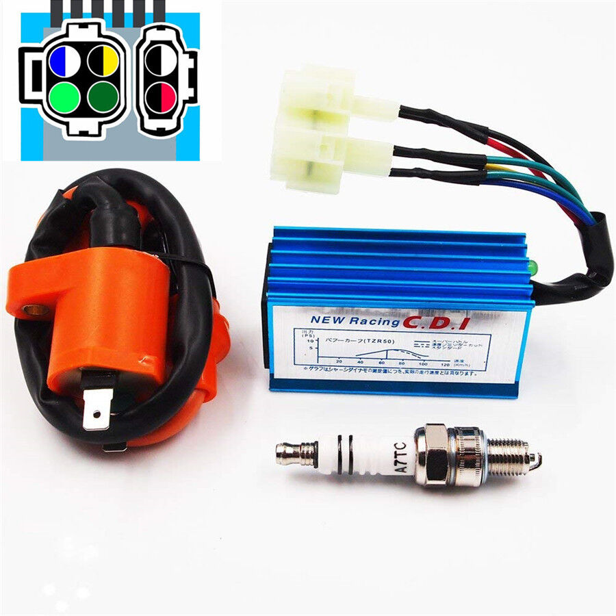 Details about Moped Scooter Ignition Coil CDI Spark Plug For GY6 50cc on