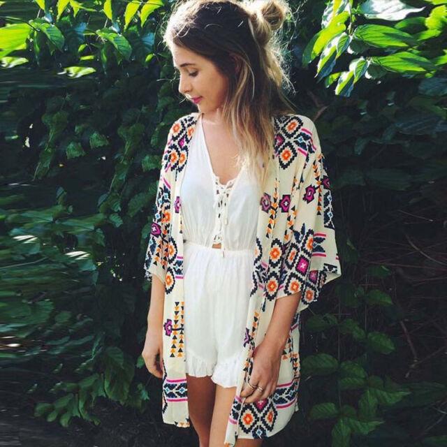 Women Geometry Printed Blouse Chiffon Kimono Cardigan Tops Cover up Blouse Shawl