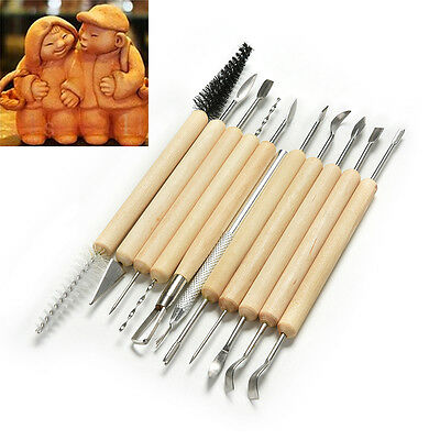 Pro. 11pcs Sculpture Sculpting Tools Set for Clay Pottery Carving Modeling