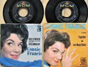 CONNIE-FRANCIS-pop-picture-sleeve-45-lot-HOLLYWOOD-DREAMBOAT-amp-TOGETHER-MGM