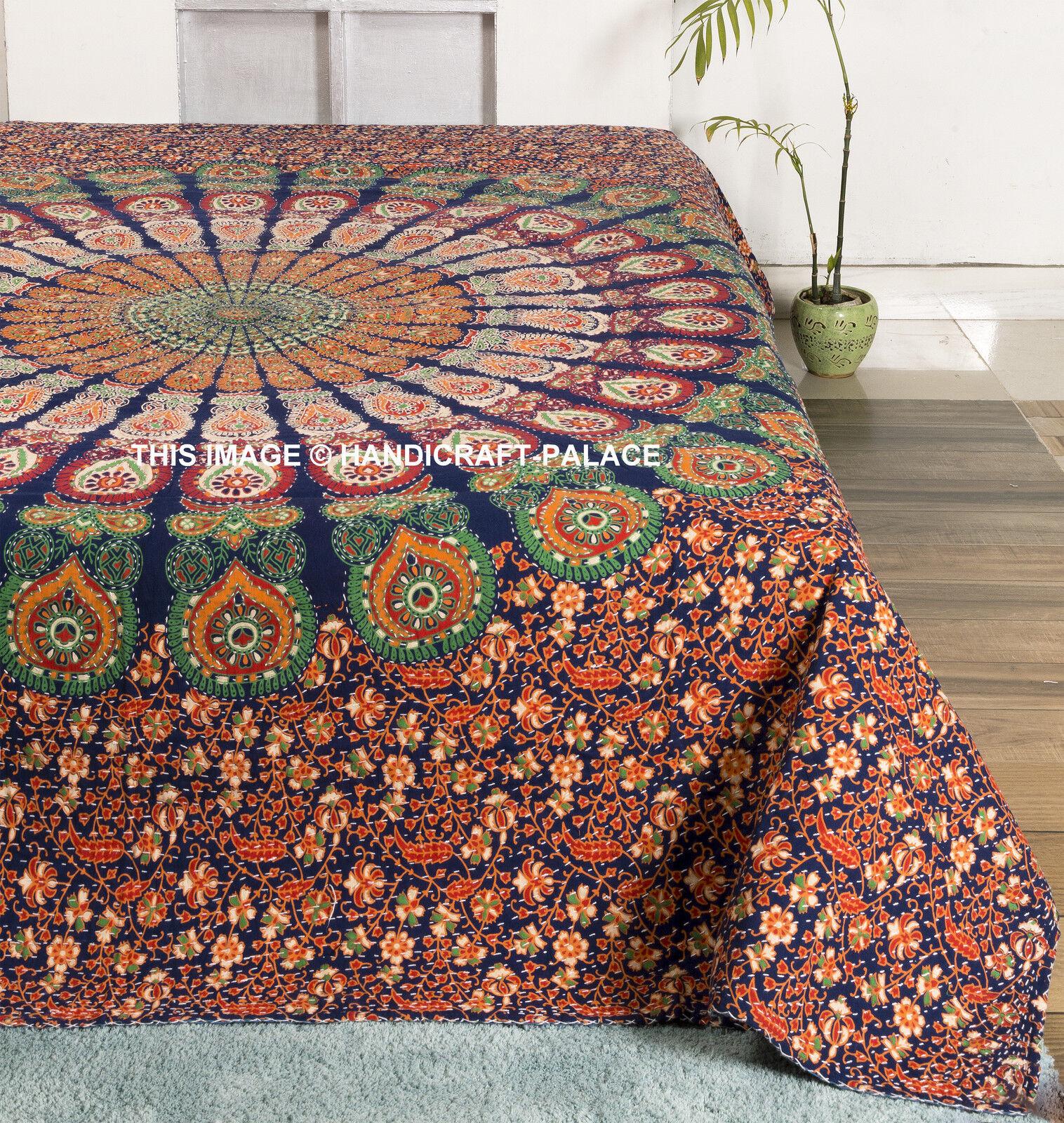 Designer Mandala Kantha`QuiltIndian Queen Bedspread Throw Cotton Blanket Gudari