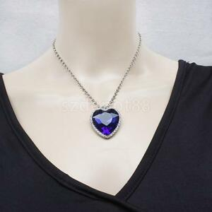 Graceful blue crystal pendant necklace titanic heart of the ocean image is loading graceful blue crystal pendant necklace titanic heart of aloadofball Image collections