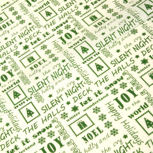 White// Green Christmas Memories Polycotton 112cm Wide Sold @ £2.64 per mtr.
