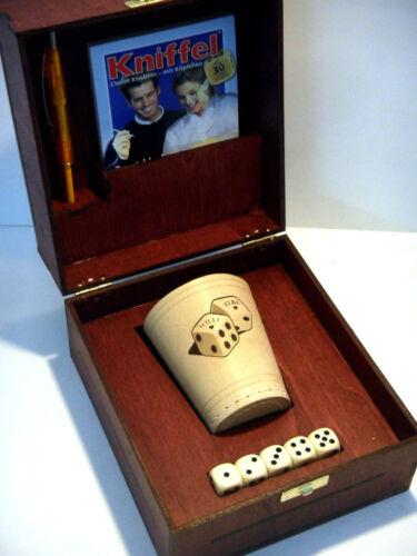 1er Würfelset individuell gravierter Würfelbecher in handgefertigter Holzbox