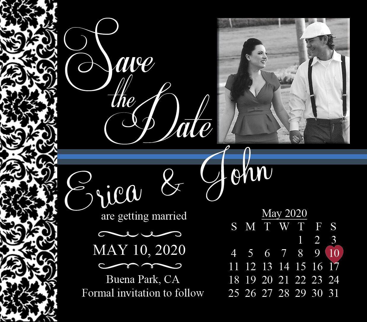 Large Save the Date Wedding Invitation Magnets Favors w Photo