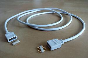 LED Streifen RGB 4 Pin Buchse auf Buchse Verlängerungskabel 1,5 m Weiß Y  UE