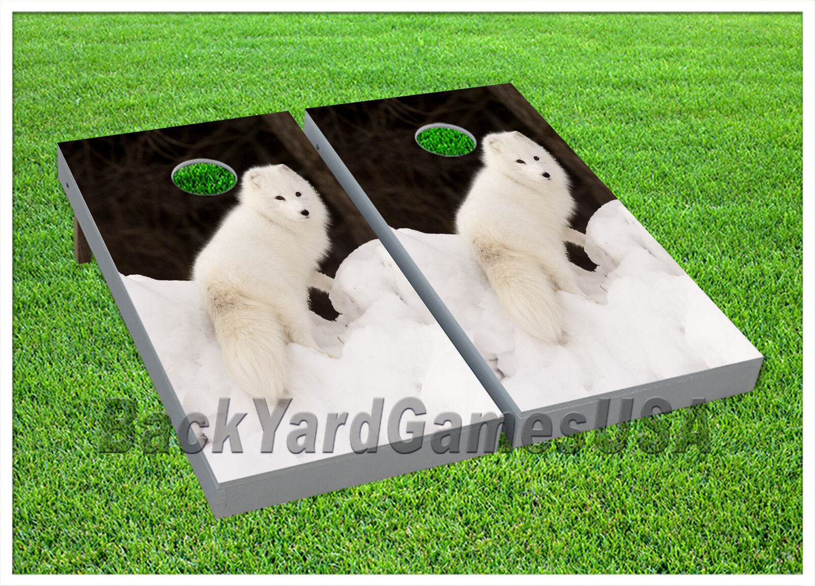 VINYL Winter White Fur Coat Fox WRAPS CORNHOLE BEANBAG Boards 997