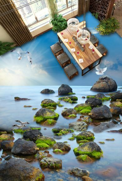 3D sky sunshine stone159 Floor WallPaper Murals Wall Print Decal 5D AJ WALLPAPER