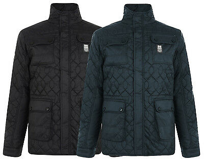 Crosshatch Men's Falcao Quilted Jacket S M L XL Black & Midnight Blue DD2