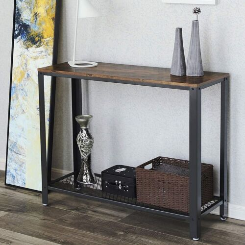 Vintage Console Sofa Table w// Shelf Brown Wood Black Metal Rustic Old Antique