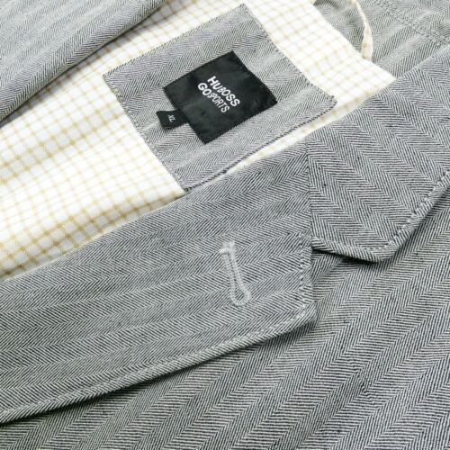 HUGO BOSS Herringbone Gray Top Stitched Wool Linen