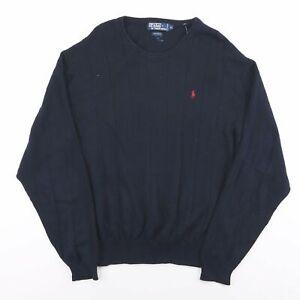 Vintage Polo Ralph Lauren marineblau leichte bestickt Pullover Herren Größe XL