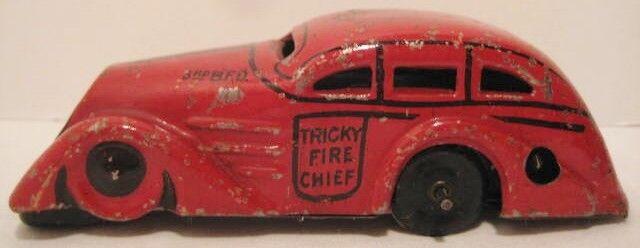 Juguete Antiguo Marx Estaño Wind Up delicado jefe de coche de bomberos