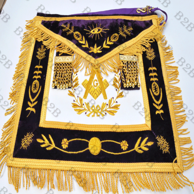 MASONIC REGALIA GRAND LODGE PAST MASTER APRON PURPLE-B2B