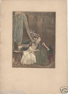 Engraving-Eau-Forte-Original-Antique-XIX-Th-Woman-with-Sa-Girl-2