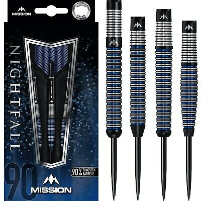 Mission Nightfall Darts Set 21g 22g 23g 24g 25g 26g 27g grams 90/% Tungsten Blue