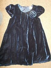 Girls NEXT SIGNATURE navy blue velvet party dress age 2-3 years excellent cond