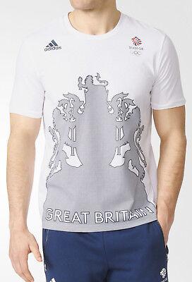 Adidas Team Gb Village Wear Logo Mens Short Sleeve Top - White