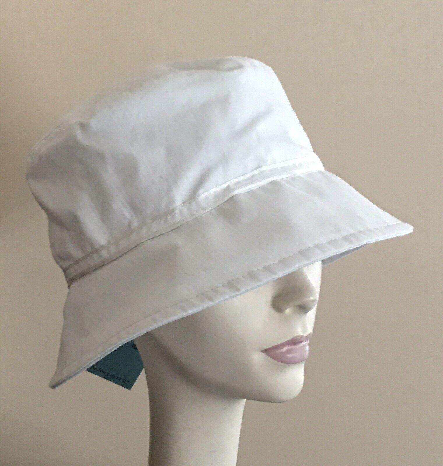 ! nuevo con etiquetas! Betmar Diseñador SPLIT Espalda Cloche Blanco Tela de algodón ligero