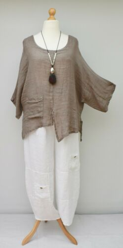 """PLUS SIZE WOMEN LINEN**TAUPE*RELAXED BATWING IRREGULAR TOP*BUST UP TO 52/""""ITALIAN"""