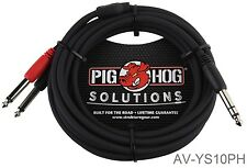 """10ft 1/4"""" TRS Male to Dual Mono TS Male (TIP/RING) Insert Cable, AV-YS10PH"""