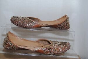 Ladies-Flat-Brown-Leather-Bead-Detail-Shoes-Uk-5