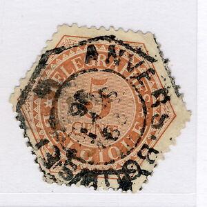 BELGIQUE-1893-COB-TG9-5c-OCRE-ROUGE-Timbres-Telegraphe-Oblitere-TB-b
