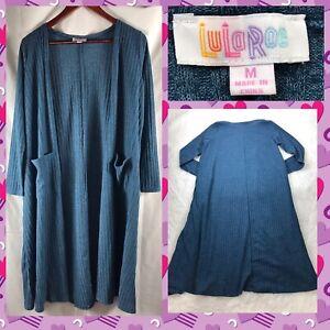 LuLaRoe-Women-039-s-Size-Medium-Sarah-Cardigan-Sweater-Duster-Blue-Ribbed-Pockets