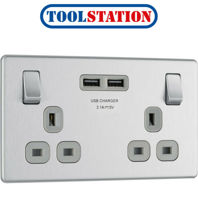 BG 13A Switched Double Socket With USB Charger 3.1A Brushed-Steel Black Insert