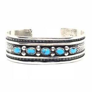 TURQUOISE-Sterling-Silver-Navajo-Row-Stamped-Cuff-Bracelet-925-Vintage-MARY-JOE