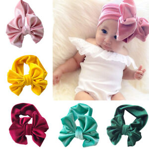1Pc Baby Girl Baby Toddler Infant Gold Velvet Headband Hair Bow Band ... 8513e251ed1