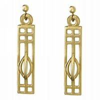 9ct Gold Rennie Mackintosh Inspired Tulip Earrings Jewellery Gift Boxed