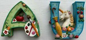 "1999 ME Mary Engelbreit Green Alphabet Letter A & Blue U x2 2.5"" Figurines. Nice"
