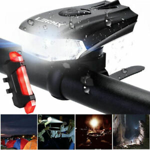 Rechargeable MTB Road Bike Bicycle Cycling Head Front Lights Rear Tail Lamp UK