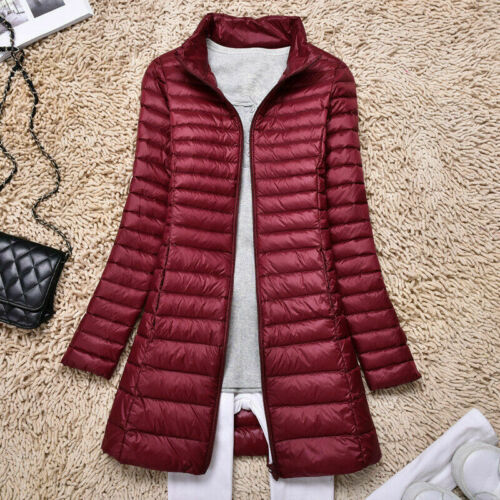 Women/'s Long Duck Down Coat Solid Casual Light Jacket Hooded Outerwear Puffer