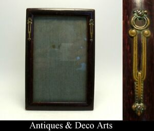 Victorian-or-Edwardian-Wood-Picture-or-Photo-Frame-with-Metal-Decoration
