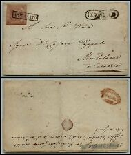NAPOLI-2 grana(7) su lettera Arpino(pti 8)- Monteleone 25.4.1859