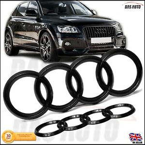Details about GLOSS BLACK GRILL+REAR BADGE EMBLEM AUDI Q7 Q8 Q5 Q3 Q2 A7 A6  RS Sline quattro