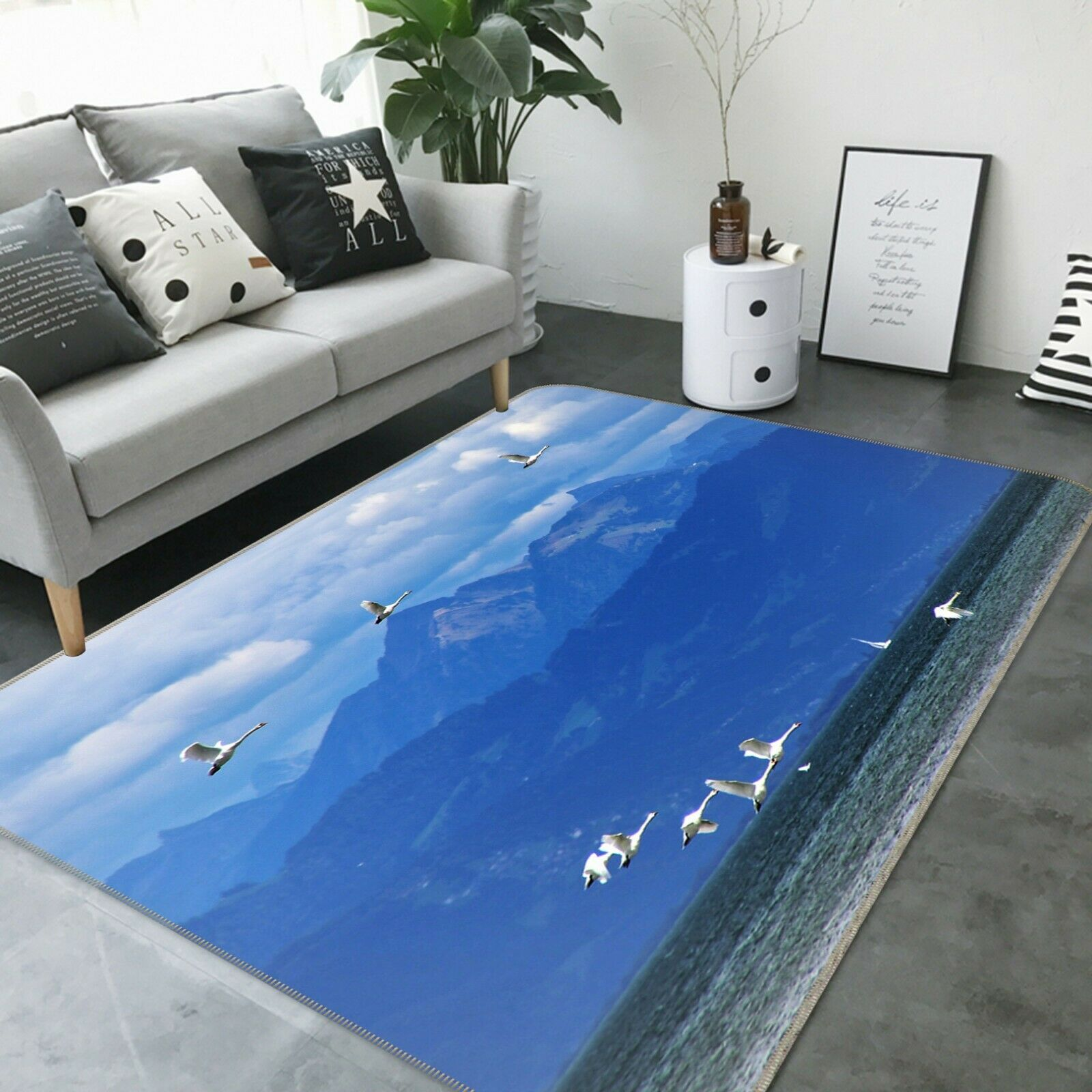 3D Mountain Sea Seagull C408 Animal Non Slip Rug Mat Elegant Photo Carpet Zoe