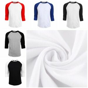 Para-Hombre-Manga-raglan-3-4-de-beisbol-LLANO-TEE-Camiseta-Deportes-de-equipo-T-Shirt-S-2XL